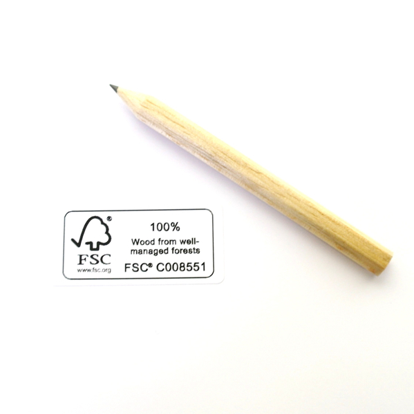 6-sided mini pencil with FSC certification.
