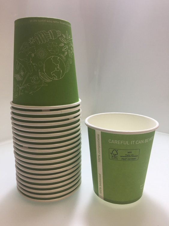 "FSC® cardboard Bio coffee cup ""World Leaf Green"""
