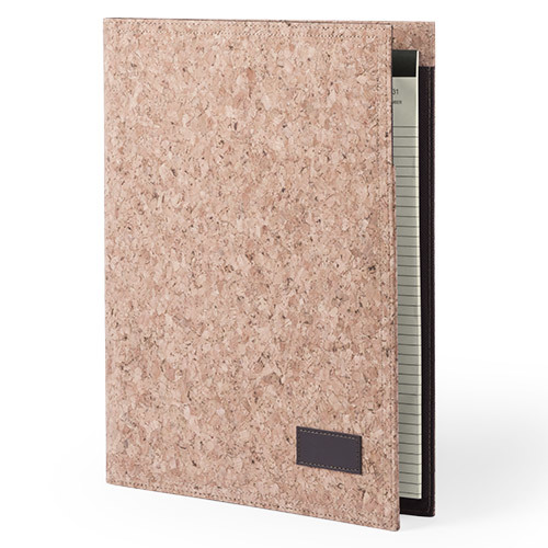 A4 writing case with soft-touch cover of cork