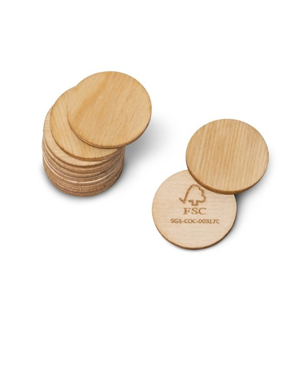 "Wooden coin ""Green Coin"" made of natural birch wood FSC® certified"