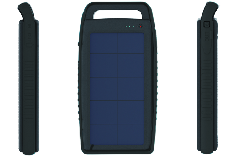 Solar Charger 15000 mAh Populaire in black color