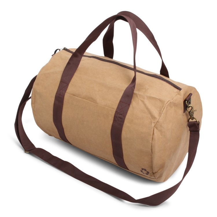 Environmentally friendly duffel (Kraft plunger) bag made of 100% recycled paper.